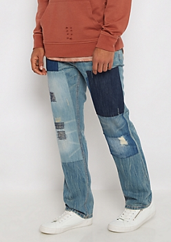 Patched & Nicked Relaxed Jean