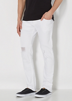 White Ripped Super Skinny Jean