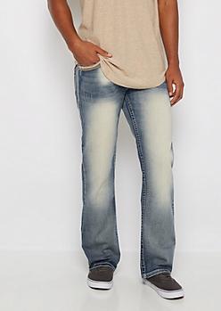 Thick-Stitch Pocket Sandblasted Boot Jean