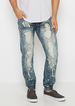 Flex Ripped Paint Splatter Jogger Jean