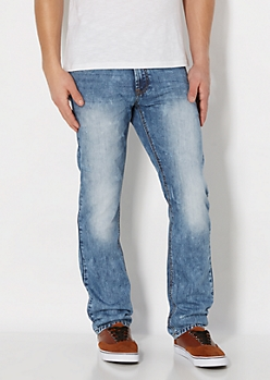 Distressed Acid Wash Slim Jean