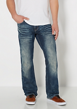 Dark Blue Sandblasted Boot Jean