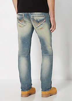 Distressed Dirty Wash Slim Straight Jean