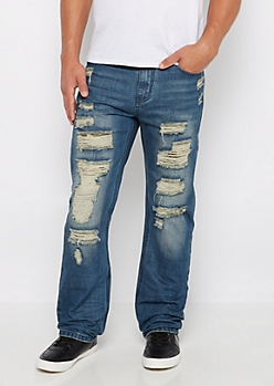 Flex Torn Camo Patched Relaxed Straight Jean