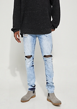 Bleached Flex Skinny Fit Destroyed Jeans