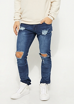 Dark Wash Blown Out Skinny Jeans