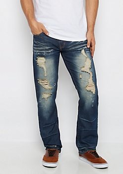 Freedom Flex Paint Splatter Slim Straight Jean