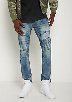 Washed Moto Stitched Skinny Jean