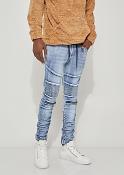 White Bleach Washed Zip Moto Jean Joggers