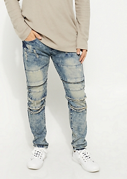 Bleach Stained Rip & Repair Skinny Jeans