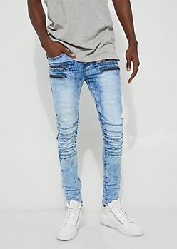 Blue Slashed Knee Moto Skinny Jeans