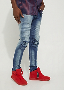 Dark Distressed Scrunched Moto Skinny Jean