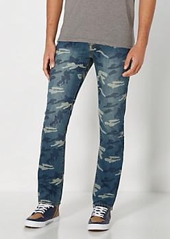 Medium Blue Camo Slim Jean