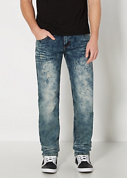 Stone Washed Nicked Slim Straight Jean