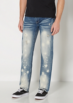 Acid Washed Distressed Slim Straight Jean