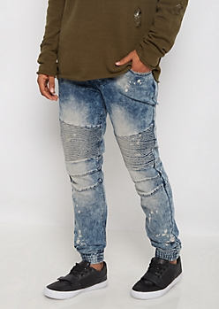 Flex Washed Moto Jogger Jean