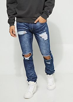 Flex Skinny Fit Frayed Cutout Dark Wash Jeans