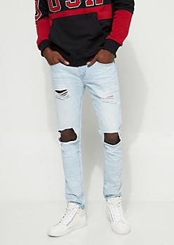 Flex Skinny Fit Frayed Cutout Light Wash Jeans