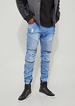 Destroyed Moto Jean Joggers