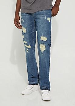 Dark Blue Destroyed Slim Straight Jean