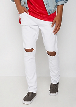 Flex White Blown Knee Skinny Pant