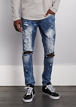 Flex Washed Blown Knee Skinny Jean