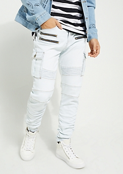Light Wash Cargo Denim Joggers