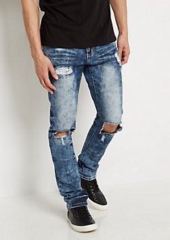 Flex Heavy Washed & Ripped Skinny Jean