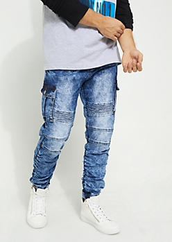 Medium Wash Cargo Denim Joggers