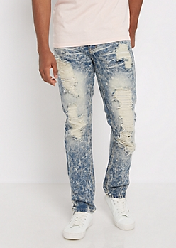 Acid Washed Destroyed Skinny Jean