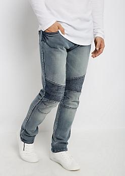 Flex Heavy Wash Vintage Moto Skinny Jean