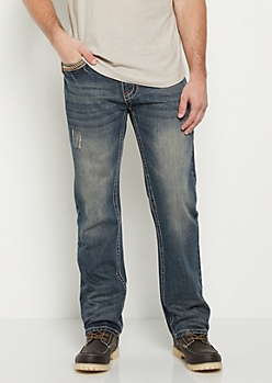 Dark Washed Nicked Bootcut Jean