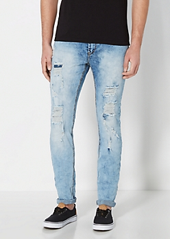 Light Blue Vintage Destroyed Skinny Jean