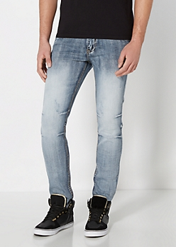 Gray Vintage Stitched Skinny Jean