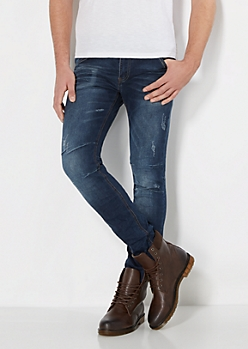 Dark Blue Vintage Nicked Skinny Jean