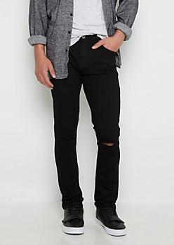 Flex Black Ripped Knee Super Skinny Jean