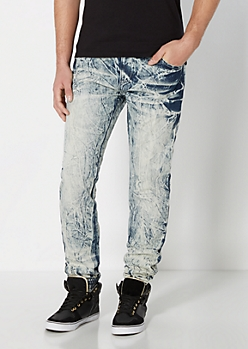 Light Blue Acid Wash Jogger Jean
