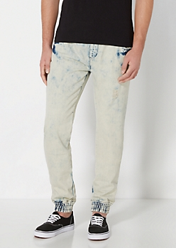 Dirty Blue Acid Wash Jogger Jean