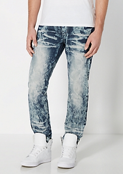 Dark Blue Acid Wash Jogger Jean