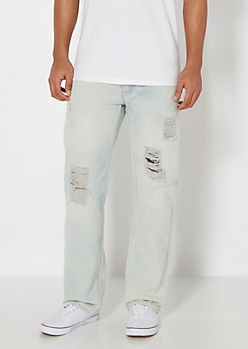 Destroyed & Repaired Relaxed Straight Jean