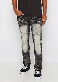 Black Flex Acid Washed Moto Skinny Jean