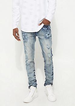 Medium Wash Crinkled & Distressed Flex Skinny Jeans