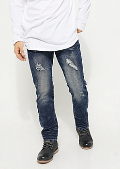 Dark Wash Distressed Straight Slim Fit Jeans