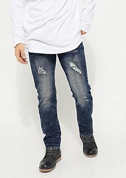 Dark Wash Distressed Straight Slim Fit Jeans