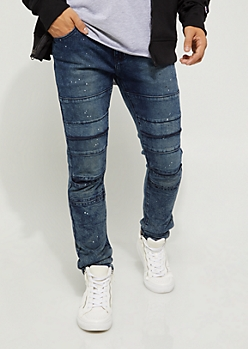 Flex Paint Splattered Flap Knee Skinny Jean