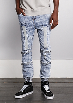 Flex Acid Washed Destroyed Jean Jogger