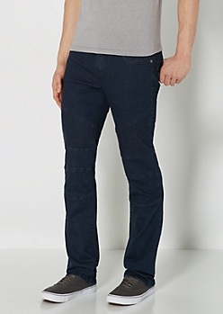 Blue Moto Slim Straight Jean