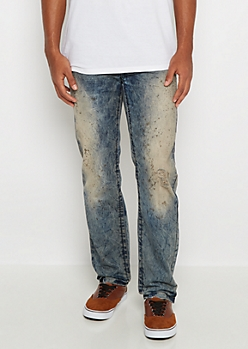 Freedom Flex Distressed Dirty Wash Slim Straight Jean