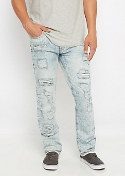 Bleached Destroyed Slim Jean