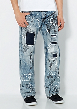Destroyed Graffiti Relaxed Straight Jean